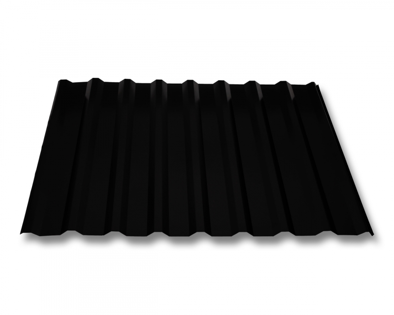 trapezblech w20 1100 dachplatten stahl 0 5mm beschichtung 35 m schwarz hnlich ral 9005. Black Bedroom Furniture Sets. Home Design Ideas