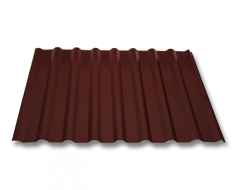 trapezblech w20 1100 dachplatten aluminium 0 7mm blechst rke beschichtung 25 m rotbraun ral 8012. Black Bedroom Furniture Sets. Home Design Ideas
